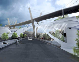 Breath Line Urban Corridor | View from the main street under the existing bridge