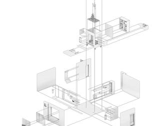 The Floating Cabinet   Exploded Axonometric