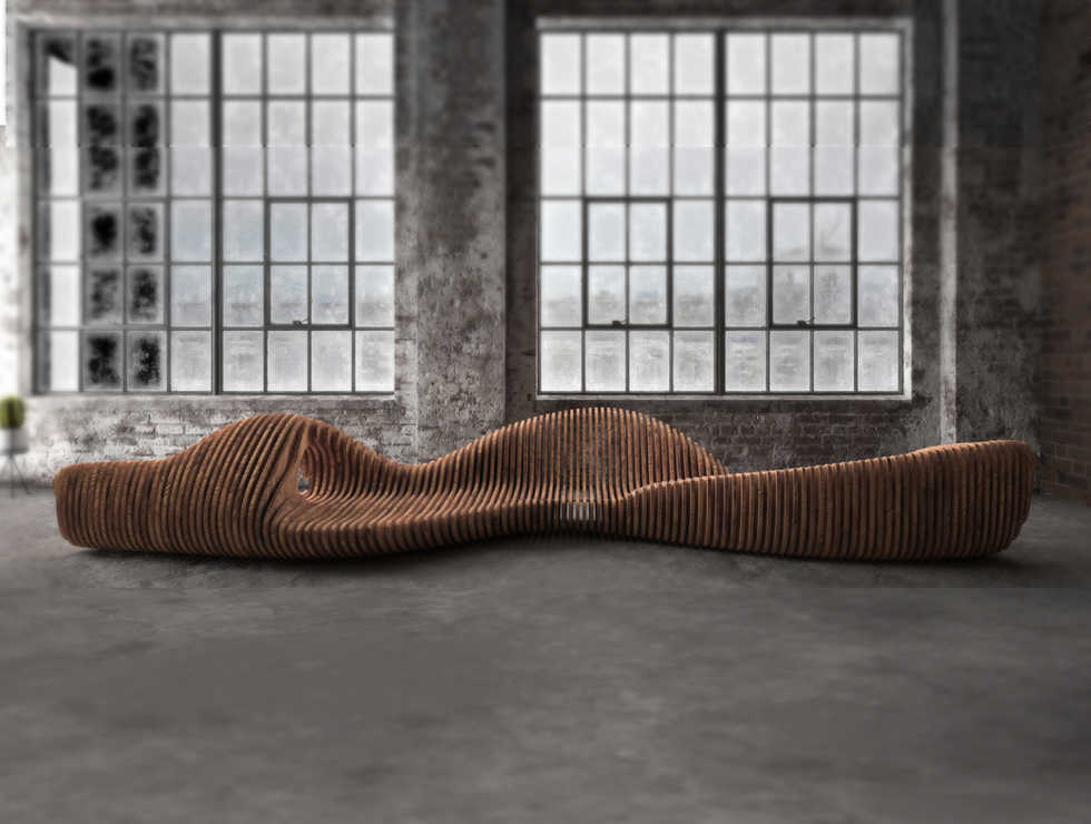 Carved Rock Parametric Bench