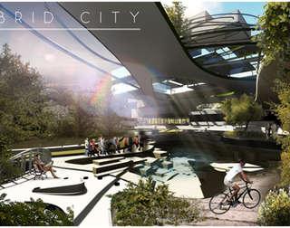Hybrid City Civic Center | Central Fountain Plaza