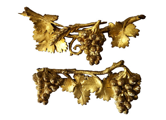Two Stunning Antique French Gilded Wood Carvings With Grapes, Early 1800's