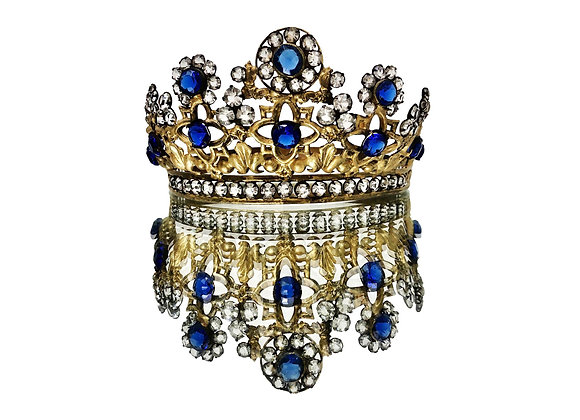 An Opulent Antique French Bejewelled Santo's Crown 1800's