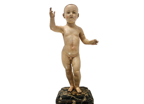 An Exceptional Antique Italian Santo, Hand Carved Wood Statue, 1750's