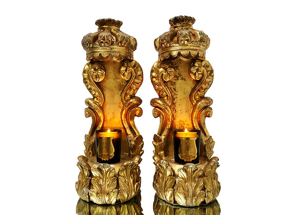 A Phenomenal Pair Of Italian Baroque Wood Carvings With Crowns, 1700's