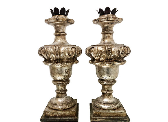 A Pair Of Antique Italian Urn Candleholders, Hand Carved Wood, 1800's