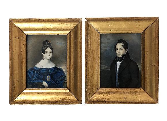 A Pair Of Antique Miniature Portrait Paintings, Mid 1800's
