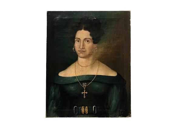 Antique Biedermeier Female Portrait Painting, 1800's