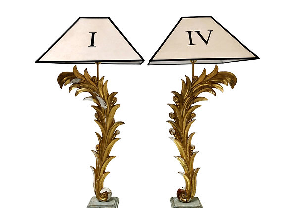 A Pair Of Unique Table Lamps Created From Large 18th Century Gilded Fragments