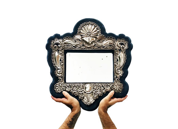 An Opulent Antique French Mirror In A Blue Velvet Frame With Silver, 1800's