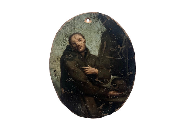 Antique Italian St Francis Painting On Copper Plate, 1600's