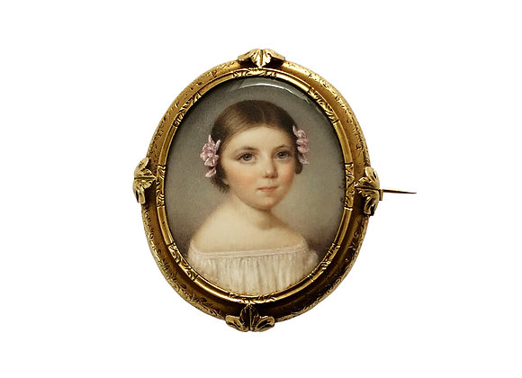 Antique French Gold Brooch With A Girl Painting, 1850's