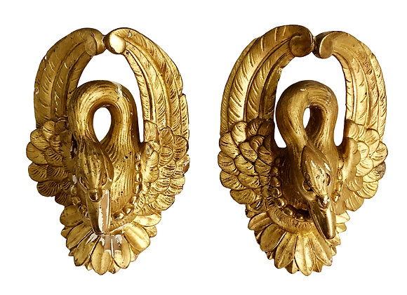 A Pair Of Gilded Antique French Swans, Early 1800's