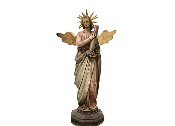 Antique Italian Angel, Carved Wood Statue, 1700's