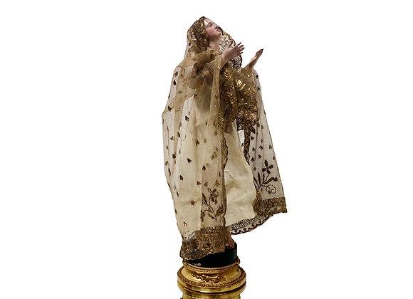 Antique Italian Madonna Santo, Virgin Mary From Naples, 1800's