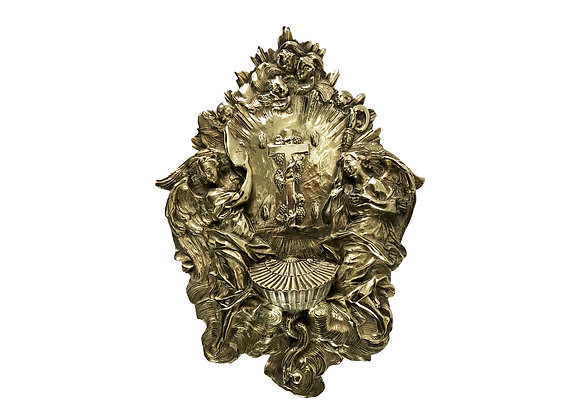 A Stunning And Rare Antique French Holy Water Font With Angels, 1800's