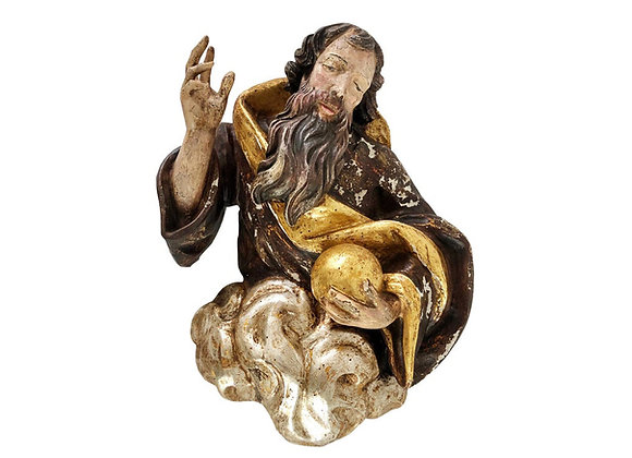 Baroque Wood Carving Representing God, 1700's