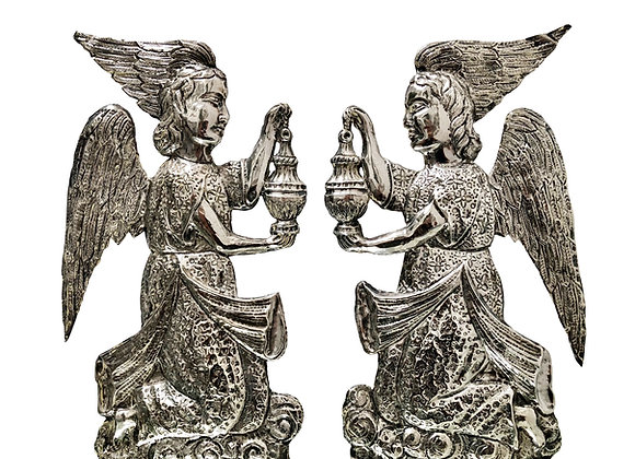 A Pair Of Exquisite Antique Spanish Angels, Sterling Silver, 1800's Or Older