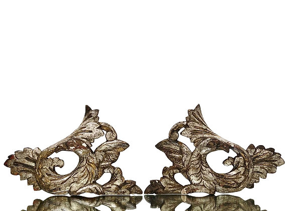 A Pair Of Antique French Wood Carvings With Birds, 1800's