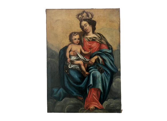 Antique French Madonna And Child Oil Painting On Canvas, 1700's