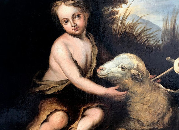 Victorian Painting of St John the Baptist With A Lamb, 1800's