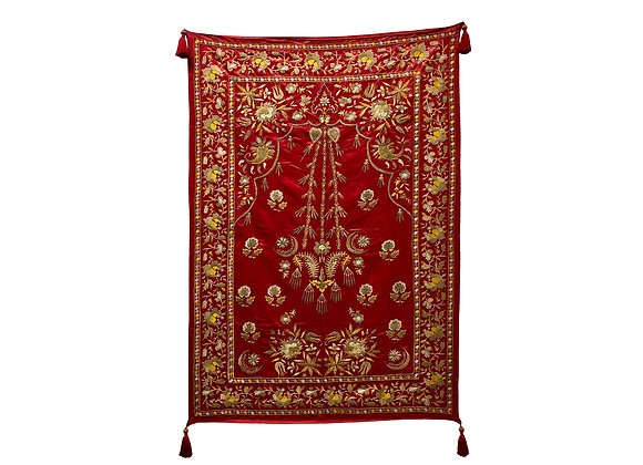 A Spectacular Antique Ottoman Wall Hanging, Hand Embroidered Silk, 1800's