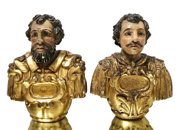 A Pair Of Antique Italian Reliquary Busts, 1700's