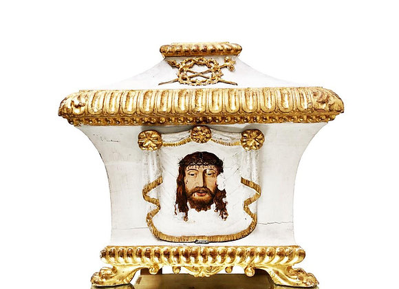 Antique Italian Tabernacle, Carved, Gilded And Painted, 1700's