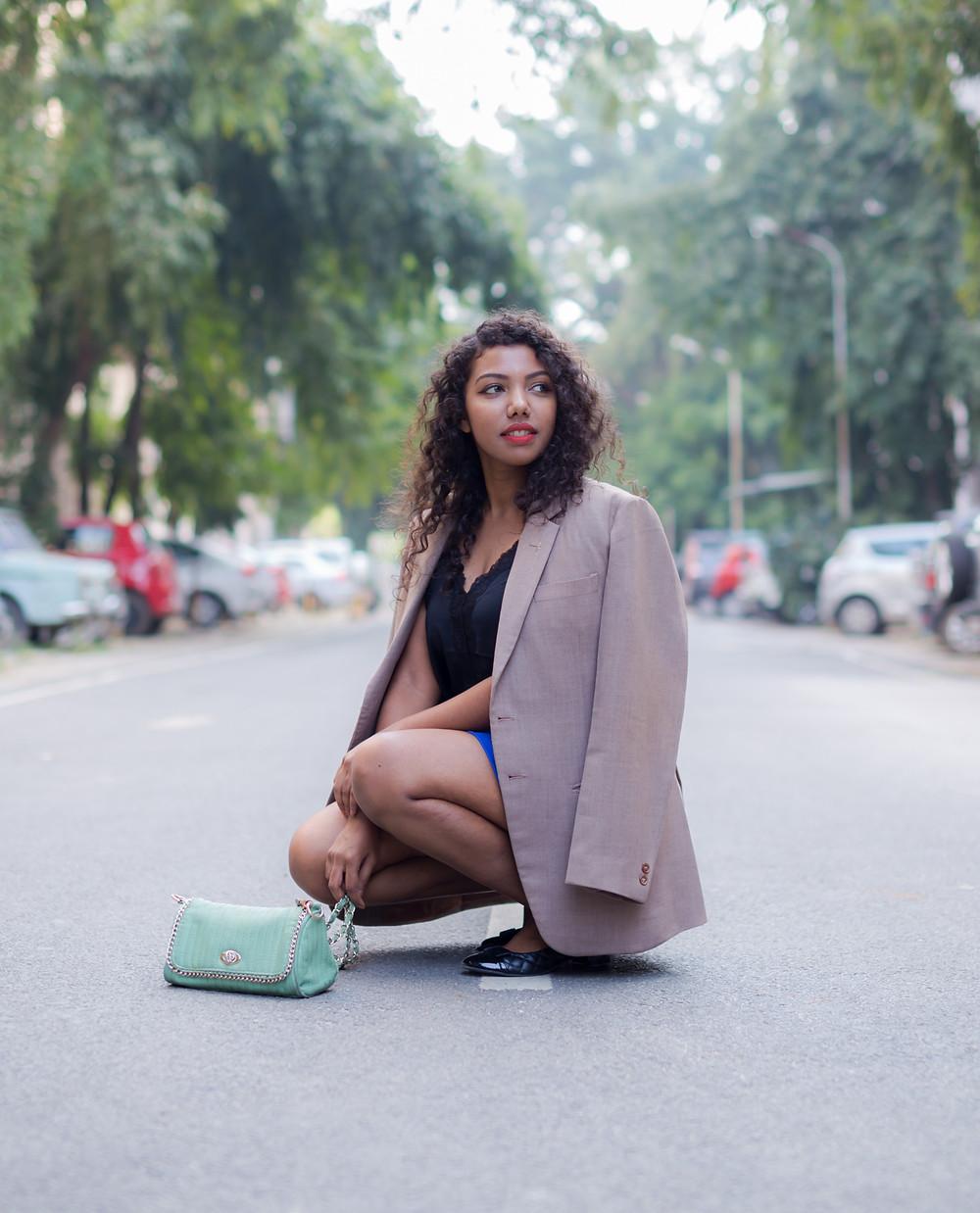 The Curly Mode, Oversized Blazer, Styling, Lookbook