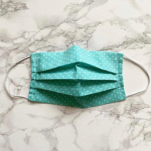 Mint green polka dot washable face mask with filter pocket and nose wire