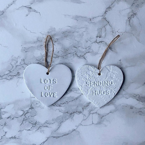 White hanging heart decoration