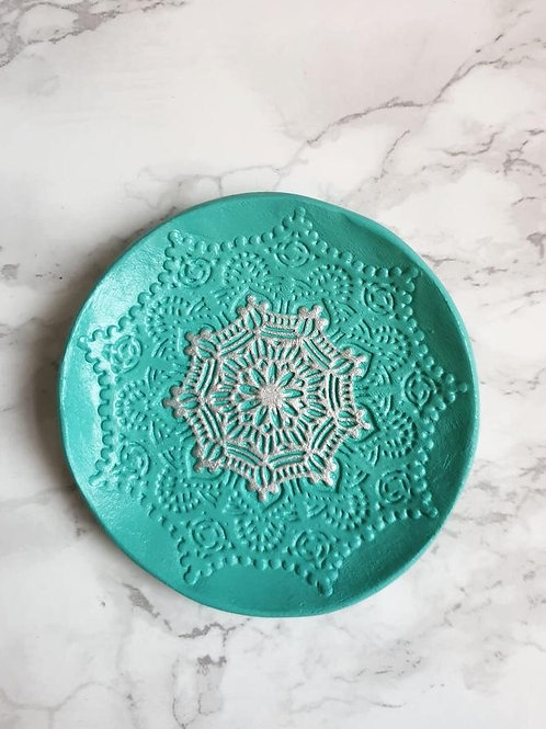 Green and silver embossed trinket dish