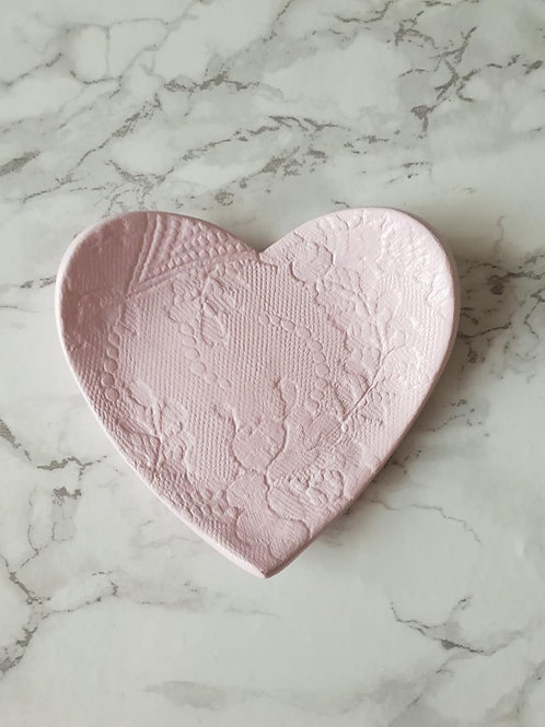 Pink lace print heart trinket dish