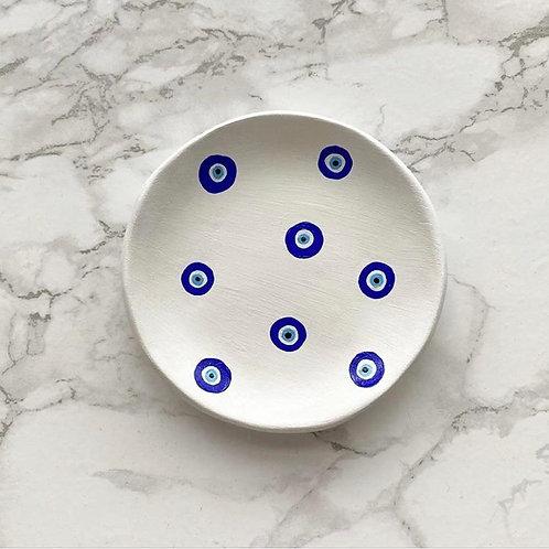 White evil eye print trinket dish