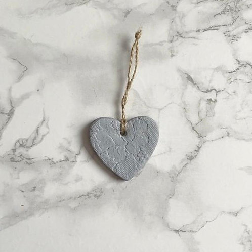 Grey lace print hanging heart decoration/gift tag/wedding favour