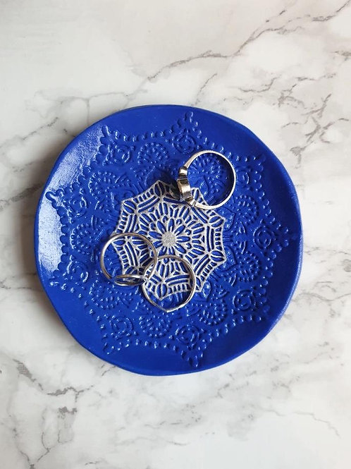 Blue and silver embossed trinket dish