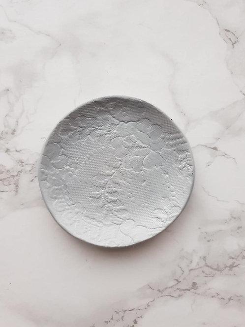 Grey lace print trinket dish