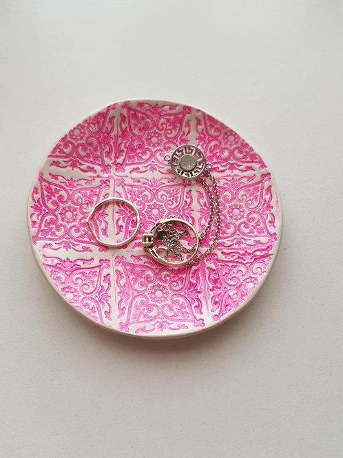 Pink tile print trinket dish