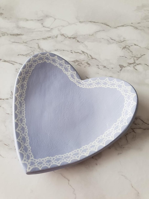 Lilac heart trinket dish with with hand drawn lace detail