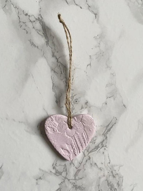 Pink lace print hanging heart decoration/gift tag/wedding favour