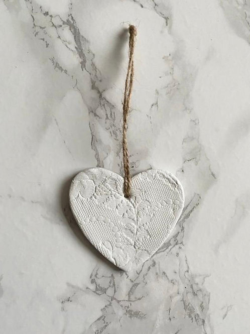 White lace print hanging heart decoration/gift tag/wedding favour