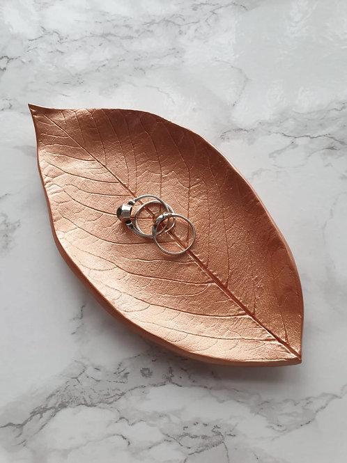 Rose gold leaf trinket dish