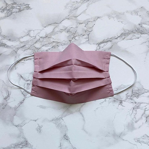 Dusky pink washable face mask with filter pocket and nose wire