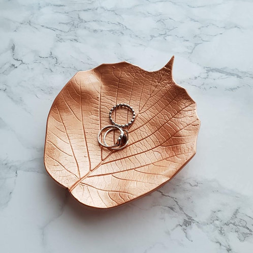 Rose gold leaf trinket dish