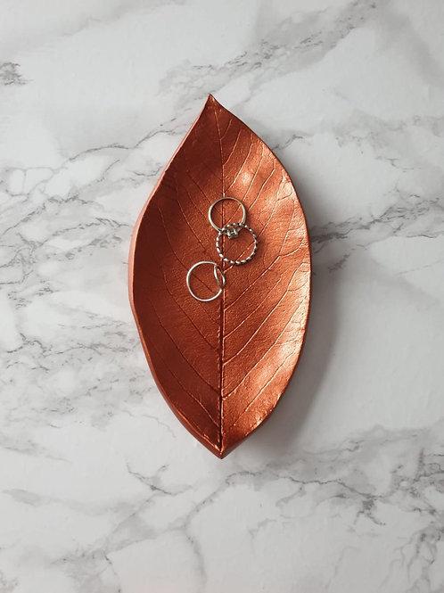 Copper leaf trinket dish