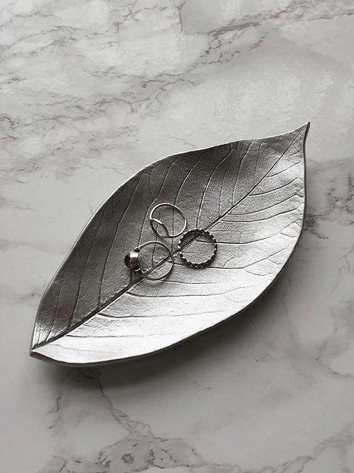 Silver leaf trinket dish
