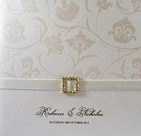 Wedding Invitation - White tango pearl paper, satin ribbon & diamonte buckle