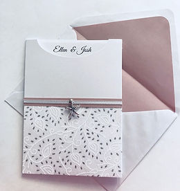 Pink, White & Silver Glamour Pocket Wedding Invitation Hand Made By Jules