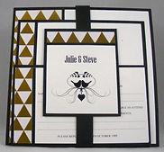 Wedding Invitation - Flat Card Group - Gold Geometric Triangle paper on black