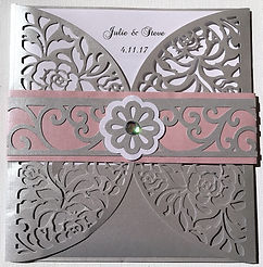 Gorgeous lace design gatefold wedding invitations feature decorative envelope inserts - Hand Made By Jules