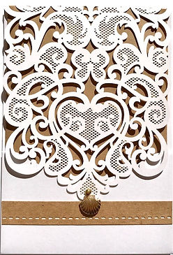 Rustic Laser Cut Wedding Invitation with gold shell feature